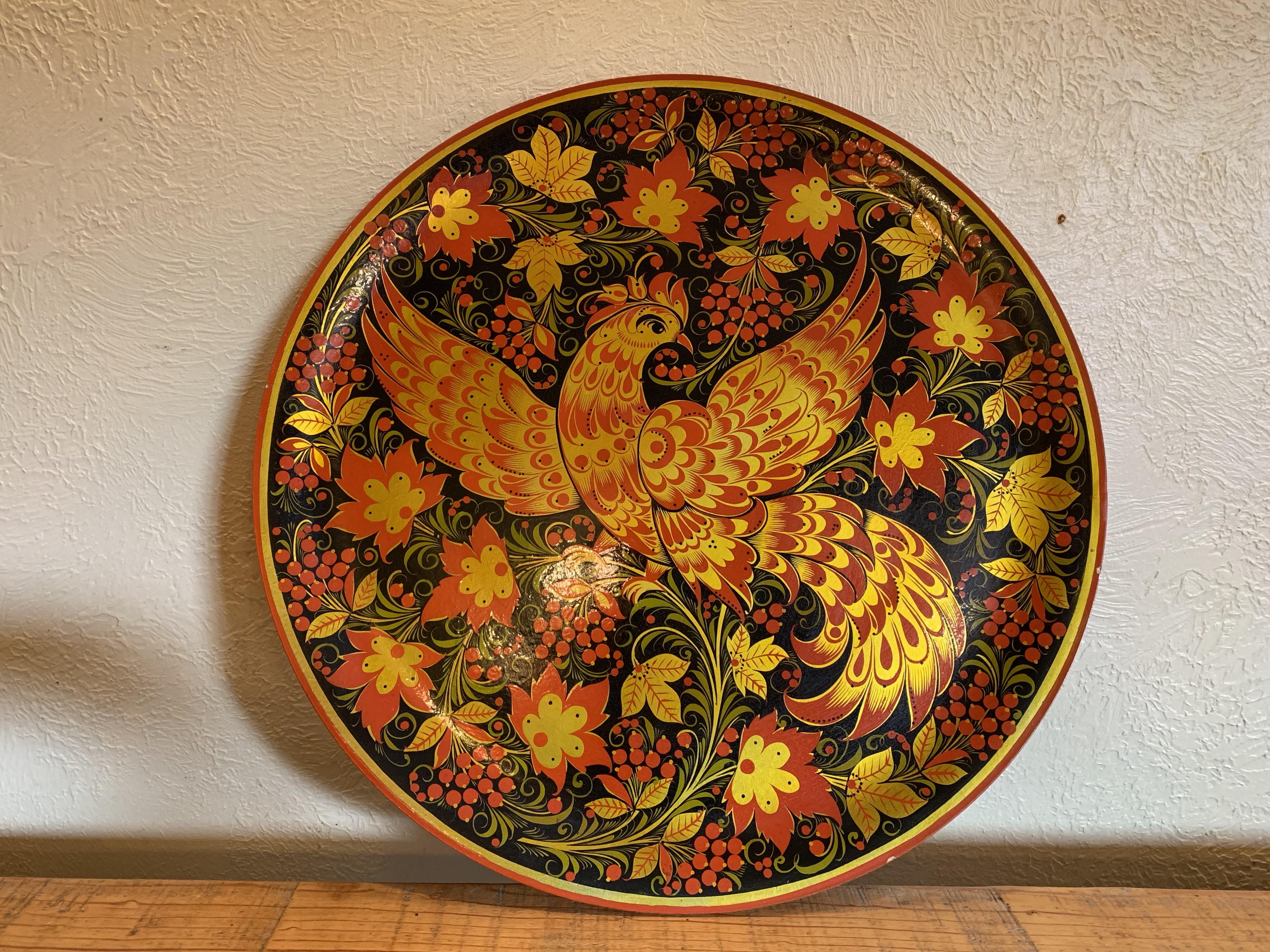 Khokhloma wooden plate: Firebird