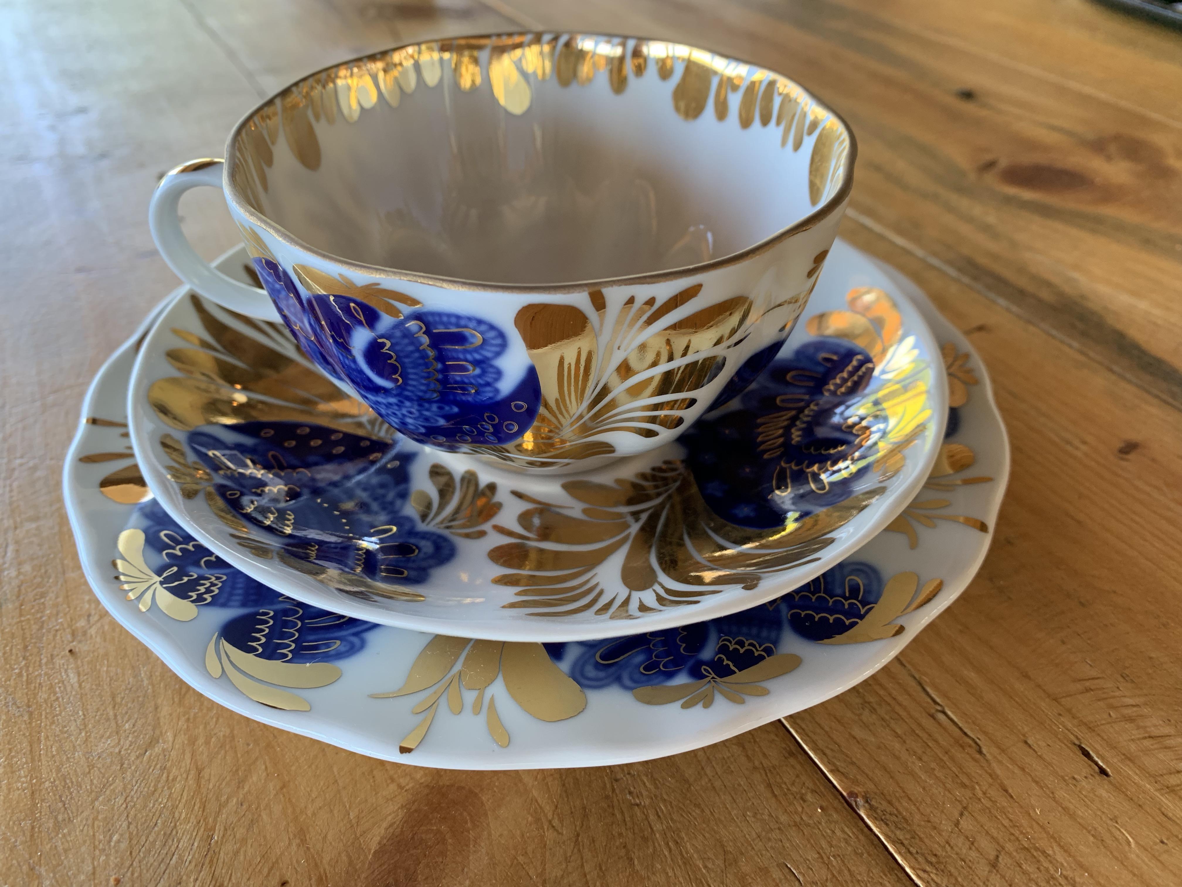 Firebird fine porcelain tea cup with saucer& plate