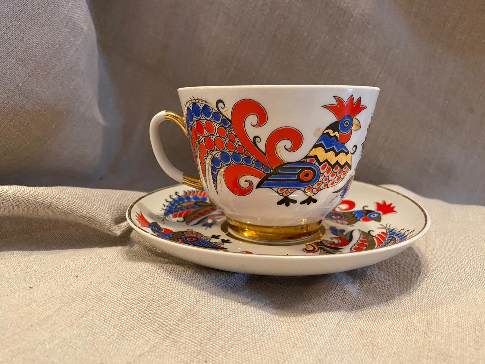 Rooster fine porcelain tea cup